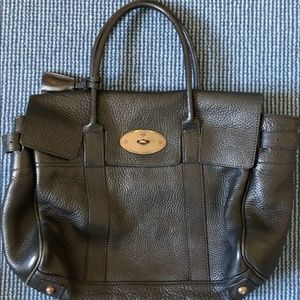 Mulberry Black Leather Large Handbag, Gold Accents